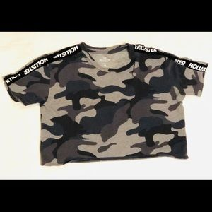 Hollister Gray Camouflage Crop Top